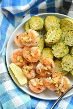 Shrimp and brussels sprouts