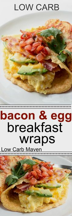 This low carb bacon and egg breakfast wrap is easy to make and satisfying. This Keto, gluten-free, grain-free recipe is perfect for breakfast, brunch and lunch! #lowcarb #keto #glutenfree #lowcarbbreakfast #ketobreakfast #glutenfreebreakfast #breakfastwrap