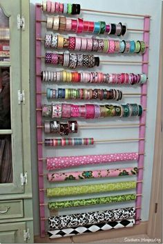 Sewing room storage - lots and lots of pegboard New Crafts, Home Crafts, Etsy Crafts, Summer Crafts, Kids Crafts, Fall Crafts, Halloween Crafts, Wrapping Paper Holder, Wrapping Papers