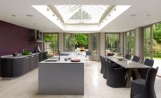 Increase natural light into your home with an aluminium or timber roof lantern. Large selection of roof lanterns to suit any project. Kitchen Extension With Roof Lantern, Kitchen Diner Extension, Conservatory Design, Orangery Conservatory, Timber Roof, Modern Roofing, Living Roofs, Roof Architecture, Glass Roof