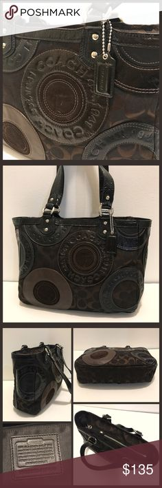 """Brown Coach Patchwork Tote Excellent used condition!! Dark brown signature jacquard, leather and patent leather with silver hardware. Zip closure. Interior has 3 pockets ( 1 zips). 9"""" strap drop. This bag is in Awesome condition!! No rips, stains, dirt. # H1093-F15466. Coach Bags Totes"""
