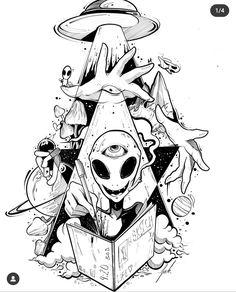 Alien Drawings, Trippy Drawings, Space Drawings, Psychedelic Drawings, Graffiti Drawing, Dark Art Drawings, Art Drawings Sketches Simple, Cool Drawings, Tattoo Design Drawings