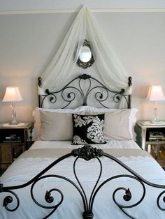 Romantic bedroom with scrolled iron bed Paris Themed Bedroom Decor, Bedroom Themes, Bedroom Ideas, Bedroom Designs, Paris Inspired Bedroom, Paris Decor, Diy Bedroom, Wrought Iron Bed Frames, Wrought Iron Headboard