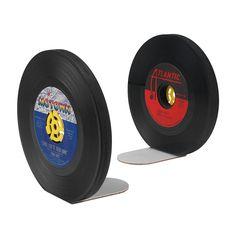RECYCLED RECORD BOOKENDS - SET OF 2   Music Memorabilia, Vinyl Records, Retro Decor, Handmade Bookends, Book Shelf Decoration   UncommonGoods