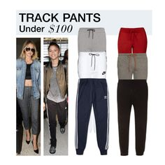 """""""Under $100: Track Pants"""" by polyvore-editorial ❤ liked on Polyvore featuring Topshop, NIKE, Paul Smith, The Upside, adidas, under100 and trackpants"""