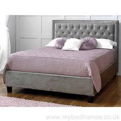 rhea silver upholstered velvet bed frame - Fabric Bed Frames