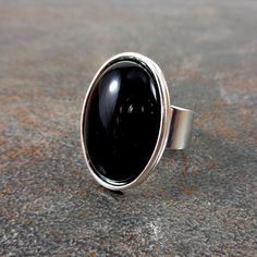 Statement Ring Black Black Agate Ring Silver Rings for by Pilboxx