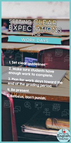 When planning your middle school or high school classroom lesson, it is important to schedule student work days and to also set clear expectations for work days. Here are five ways to set clear classroom expectations for your students. Classroom Expectations, Classroom Behavior, Classroom Management, High Expectations, First Year Teachers, New Teachers, Classroom Supplies, Classroom Resources, Teacher Resources