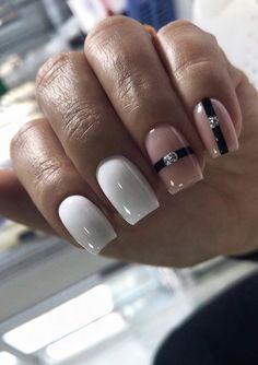 Nail Art Designs, Square Nail Designs, Elegant Nail Designs, Winter Nails, Summer Nails, White Short Nails, White Manicure, Square Nails, Perfect Nails