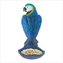 This perky parrot cups his tail feathers, forming a scoop to offer his birdie buddies a tasty tropical treat!  Beautifully painted and wonderfully detailed, this fabulous figural bird feeder doubles as both gorgeous decoration and functional ga...