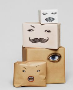 packaging with personality... this is a little creepy but maybe something more cartoony would be fun