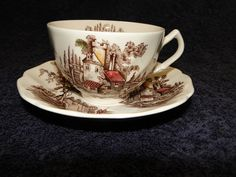 Johnson Brothers The Old Mill Tea Cup Saucer - Multi Available - Excellent! in Pottery & Glass, Pottery & China, China & Dinnerware | eBay