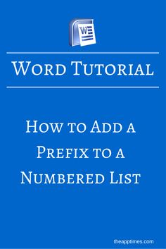 This Microsoft Word tip will show you how to customize a numbered list in Word by adding a prefix to it in a few quick steps.