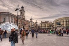 The busy center of Puerta del Sol, Madrid
