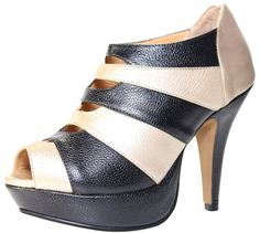 D'Jandro Women's Petite Heels Genuine Leather Peep Toe Interlaced Gold Black -- To view further for this item, visit the image link.