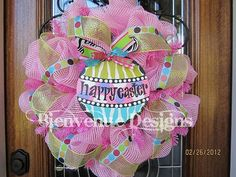 Pink HAPPY EASTER Mesh Wreath SALE by lesleepesak on Etsy