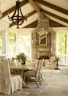 Neutral Rustic Backyard Screened in Porch and patio featured on Monday Morning Coffee - Actually Ashley