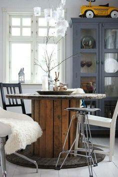 table from cable drum mesa redonda, carretel patinado