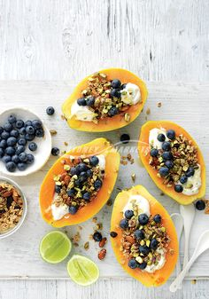 Prep 10 mins | Serves 4 2 small (about 600g each) ripe papayas 1 lime, juiced 1 cup thick natural Greek-style yoghurt 1 cup granola or toasted muesli 125g blueberries ¼ cup chopped pistachios honey, for drizzling lime wedges, to serve Step 1 Halve papayas lengthways. Using a spoon, scoop out the seeds. Place papaya halves flesh-side-up onto a board. Drizzle with lime juice. Step 2 Top papaya with yoghurt, granola, blueberries and pistachios. Drizzle with honey. Serve with lime wedges. &...