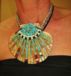 KEWA INLAY MOSAIC SHELL NECKLACE, TURQUOISE,CORAL,ONYX,BLUE LAPIS-DARVA CALABAZA | eBay