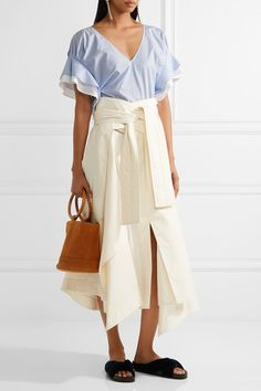 ADEAM Ruffle-trimmed striped cotton-poplin top Light-blue and white cotton-poplin Slips on cotton Machine wash Made in Japan Daily Fashion, Girl Fashion, Fashion Design, Fashion Ideas, Matches Fashion, Top Designer Brands, Ruffle Trim, Poplin, High Waisted Skirt