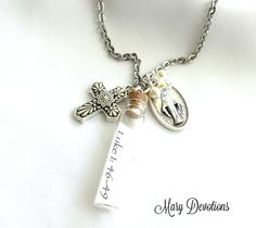 Scripture in a Bottle Miraculous Medal and Pewter by MaryDevotions