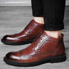 b570b8935181a Tauntte Winter Brogues Formal Ankle Boots Men Genuine Leather Martin Boots