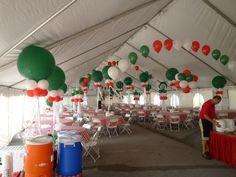 Balloon arch tent decoration. Corporate balloon decoration. www.DreamARKevents.com