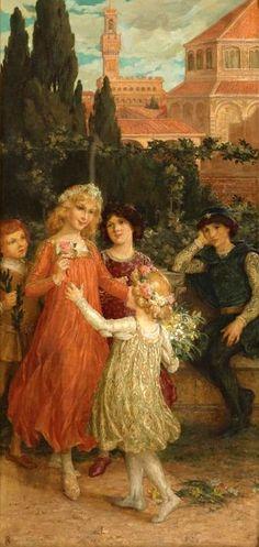 Scene from La Vita Nuova by Dante Alighieri  Elizabeth Sonrel (French, 1874-1953) J