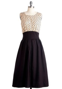 Polite Pairing Dress in Spots by Emily and Fin - Film Noir, Vintage Inspired, Black, Tan / Cream, Polka Dots, A-line, Sleeveless, Long
