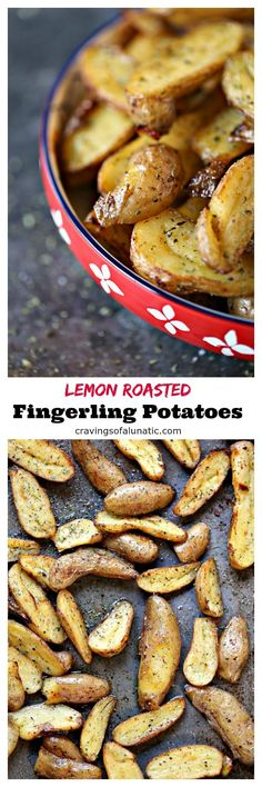 Lemon Roasted Fingerling Potatoes are one of my family's favourite side dishes. They are incredibly easy to make and are always a hit when we serve them at family functions and holidays. #sidedish #potatoes #dinner #lemon