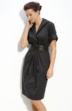 LOVE LOVE LOVE: Lafayette 148 New York Belted Ruched Shirtdress available at #Nordstrom