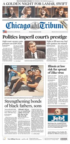 #20160216 #USA #Chicago #ILLINOIS #ChicagoTribune Tuesday FEB 16 2016 http://www.newseum.org/todaysfrontpages/?tfp_show=80&tfp_page=2&tfp_id=IL_CT