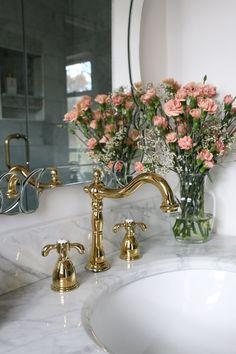 luxe-parisian-master-bathroom-renovation-a-glass-of-bovino #BathroomDecorSets Parisian Room, Parisian Bathroom, Parisian Bedroom Decor, Parisian Chic Decor, French Bathroom, Luxe Decor, Tv Decor, Shabby Chic, Dream Bathrooms