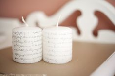 Sparkle & Hay Wedding Blog: Inspirations for a Rustic Chic Wedding: Projects: DIY Printed Candles - Looks easy to do!