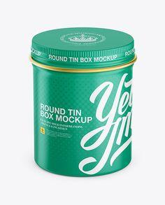 Matte Round Tin Box Mockup – High-Anlge Shot