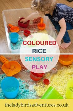 An easy and fun toddler sensory acitivity. Coloured rice sensory play including how to dye rice with food colouring in easy step by step instructions. Sensory Activities Toddlers, Creative Activities For Kids, Color Activities, Sensory Bins, Creative Play, Sensory Play, Infant Activities, Morning Activities, Sensory Tools