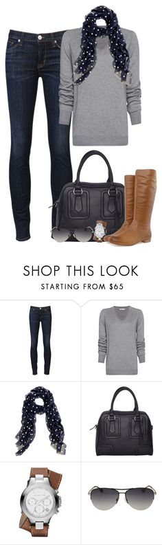 """""""polka dots"""" by partywithgatsby ❤ liked on Polyvore featuring Hudson Jeans, MANGO, J.Crew, Chesca, Michael Kors, Frye, polka dots, skinny jeans, aviator sunglasses and top handle bags"""