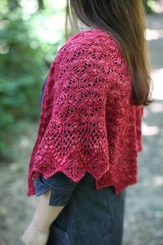 Echo Flower Shawl by Jenny Johnson Johnen, knitted by helcaa   malabrigo Silky Merino in Raspberry