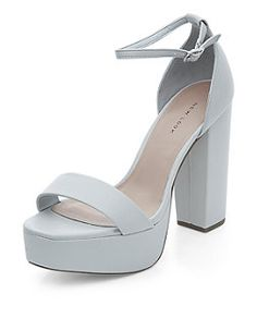 Grey Ankle Strap Platform Block Heels | New Look