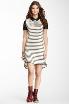 Striped Faux Leather Sleeve Dress