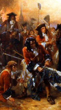 British Foot Guards with captured French royal standards after the Battle of Blenheim, War of the Spanish Succession