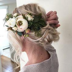 blonde textured updo, wedding hair with flower crown, boho wedding Wedding Hair And Makeup, Wedding Updo, Chic Wedding, Wedding Hairstyles, Hair Makeup, Farm Wedding, Wedding Stuff, Dream Wedding, Bridal Bun