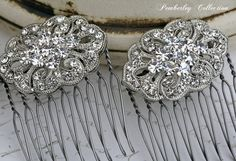 Bridal Hair Combs Pair Rhinestone Hair Comb by PemberleyCollection, $39.00