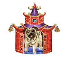 "Needlepoint canvas of Pug in pagoda needlepoint canvas  4 1/2""w  18 mesh  $42.00"