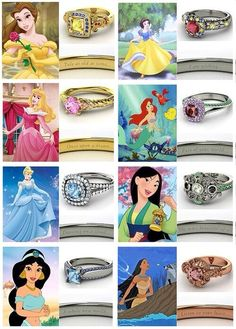 Disney princess engagement rings. I'm gonna side with Cinderella on thus one