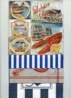 DECOUPAGE NAPKINS PACK  Collection By the Coast by OneDayLongAgo, $2.50