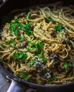 CREAMY MARSALA LINGUINE WITH CHESTNUT MUSHROOMS: Some nights just call for a silky smooth, creamy marsala sauce; wrapped around linguine… #pastarecipes Marsala Sauce, Some Nights, Linguine, Japchae, Pasta Recipes, Spaghetti, Stuffed Mushrooms, Smooth, Cooking