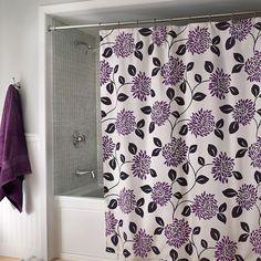 purple & gray/silver color combo...LOVE Pretty #Shower #Curtain with purple floral motif.