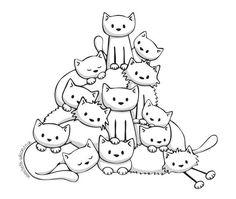 Doodle art illustration coloring books New Ideas Colouring Pages, Adult Coloring Pages, Coloring Books, Crazy Cat Lady, Crazy Cats, Doodles, Cat Quilt, Cat Crafts, Cat Drawing